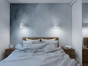 GOOD VIBES ONLY - Mała biała szara zielona sypialnia małżeńska, styl skandynawski - zdjęcie od UTOO- pracownia architektury wnętrz i krajobrazu