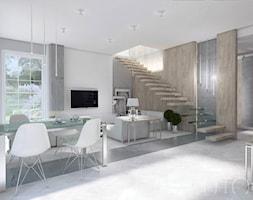 JASNA NOWOCZESNOŚĆ - Średnie wąskie schody jednobiegowe drewniane metalowe, styl nowoczesny - zdjęcie od UTOO- pracownia architektury wnętrz i krajobrazu