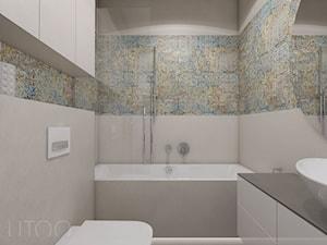 CAPPUCCINO Z NUTĄ LOFTU - Mała szara łazienka w bloku bez okna, styl nowoczesny - zdjęcie od UTOO- pracownia architektury wnętrz i krajobrazu