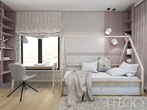 DZIEWCZĘCA SKANDYNAWIA - Mały szary pokój dziecka dla dziewczynki dla ucznia dla nastolatka, styl skandynawski - zdjęcie od UTOO- pracownia architektury wnętrz i krajobrazu