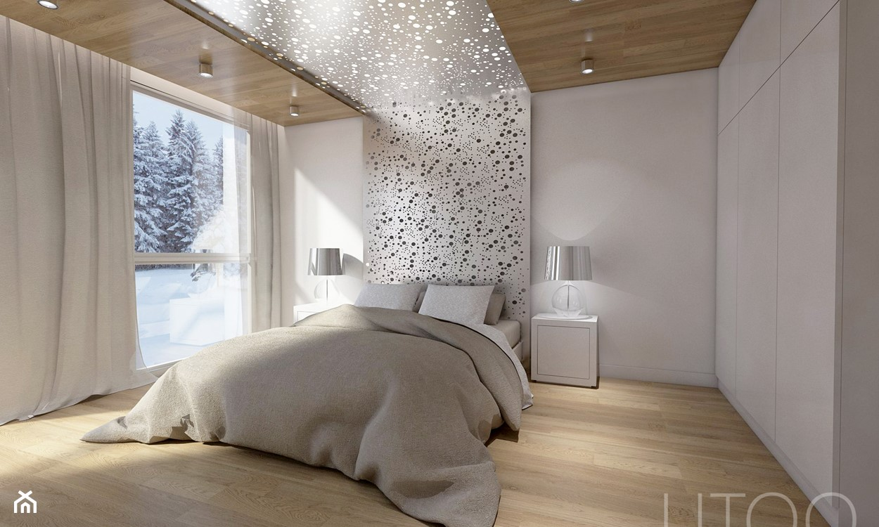 sypialnia w stylu nowoczesnym, drewniana podłoga, szara pościel, lampa stołowa ze srebrnym karniszem