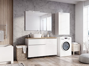 Lofty - Średnia biała szara łazienka na poddaszu w bloku w domu jednorodzinnym z oknem, styl skandynawski - zdjęcie od Elita