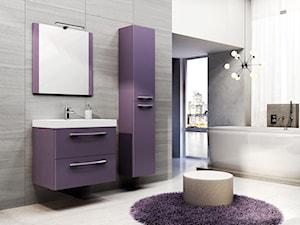 JUMP - Średnia szara fioletowa łazienka jako salon kąpielowy z oknem, styl nowoczesny - zdjęcie od Elita