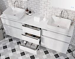 Lofty - Biała łazienka w bloku w domu jednorodzinnym bez okna - zdjęcie od Elita - Homebook