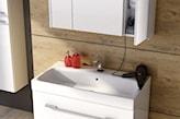 białe meble łazienkowe Elita, płytki imitujące drewno