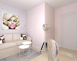Projekt Domu W Stylu Glamour Mała Biała Szara Sypialnia