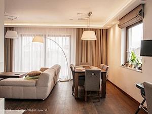 Dom jednorodzinny 160m2 - Mały biały salon z jadalnią, styl nowoczesny - zdjęcie od MASTERHOME GROUP