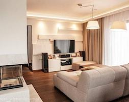 Dom jednorodzinny 160m2 - Mały szary salon, styl nowoczesny - zdjęcie od MASTERHOME GROUP