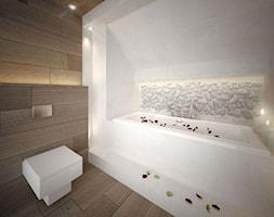 Projekt łazienki - Średnia łazienka na poddaszu w bloku w domu jednorodzinnym z oknem bez okna, styl minimalistyczny - zdjęcie od MASTERHOME GROUP