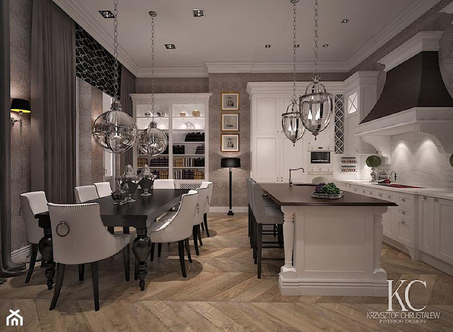 Mokotowska 8 Salon  Średnia otwarta kuchnia w kształcie litery l z wyspą, st   -> Kuchnia Poddasze Salon Sypialnia
