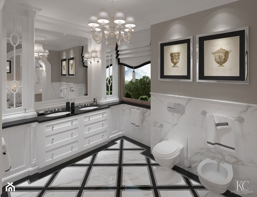 Konstancin Łazienka - Duża biała beżowa łazienka w domu ...