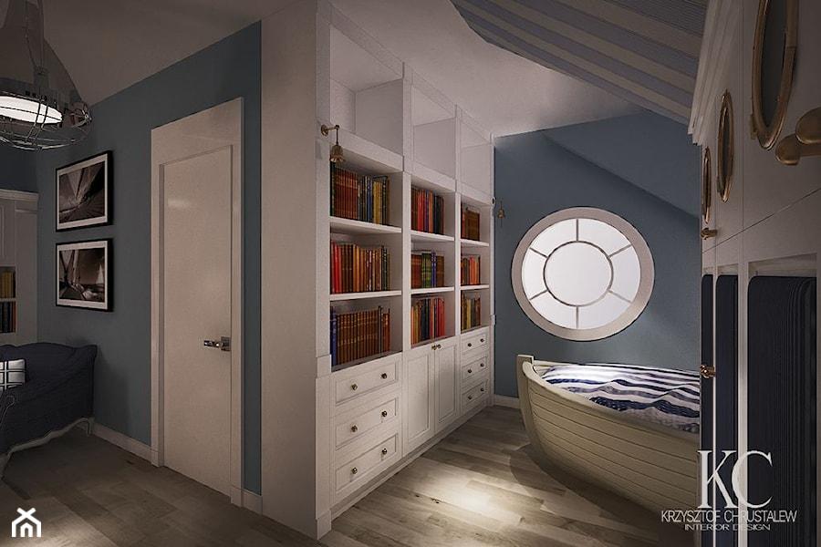 Pokój Marynarski - Średni pokój dziecka dla chłopca dla nastolatka, styl glamour - zdjęcie od ...