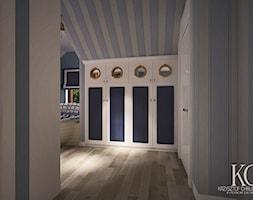 Pokój Marynarski - Duży biały niebieski pokój dziecka dla chłopca dla dziewczynki dla malucha dla nastolatka, styl glamour - zdjęcie od KCDESIGN