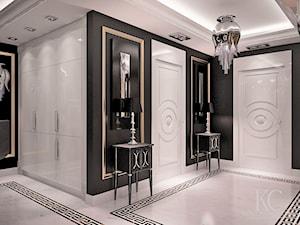 Apartament Glamour Warszawa - Średni biały czarny hol / przedpokój, styl glamour - zdjęcie od KCDESIGN