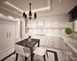 Kuchnia Glamour - Średnia zamknięta biała beżowa kuchnia w kształcie litery u, styl glamour - zdjęcie od KCDESIGN