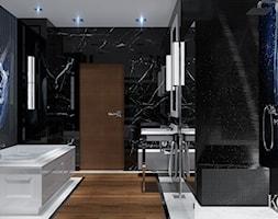 Łazienka Glamour - Średnia czarna niebieska łazienka w bloku bez okna, styl glamour - zdjęcie od KCDESIGN