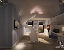 Pokój Marynarski - Duży biały niebieski pokój dziecka dla chłopca dla dziewczynki dla rodzeństwa dla ucznia dla malucha dla nastolatka, styl glamour - zdjęcie od KCDESIGN