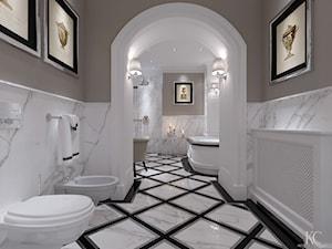 Konstancin Łazienka - Duża beżowa łazienka w domu jednorodzinnym jako salon kąpielowy, styl klasyczny - zdjęcie od KCDESIGN