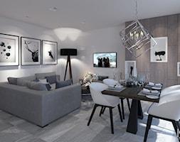 Apartament Otwock - Średni szary biały salon z jadalnią, styl nowoczesny - zdjęcie od KCDESIGN