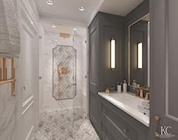 Oxygen Warszawa - Średnia biała łazienka w bloku bez okna, styl klasyczny - zdjęcie od KCDESIGN