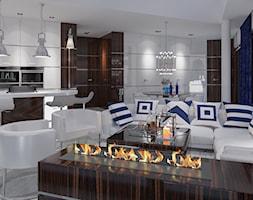 Duży biały brązowy salon z kuchnią z jadalnią, styl nowoczesny - zdjęcie od KCDESIGN