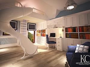 Pokój Marynarski - Duży biały niebieski pokój dziecka dla chłopca dla malucha, styl glamour - zdjęcie od KCDESIGN