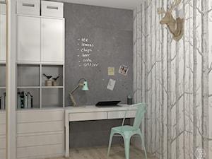 Przedpokój z biurkiem w stylu skandynawskim - zdjęcie od DIZU Studio Projektowe