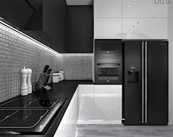 Biało Czarna Kuchnia Z Metaliczną Mozaiką Projekt Wnętrza