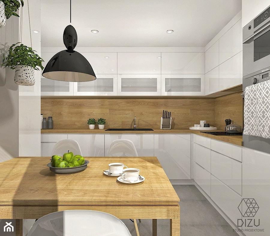 Biała Kuchnia Ożywiona Drewnem Bielsko Biała Zdjęcie Od