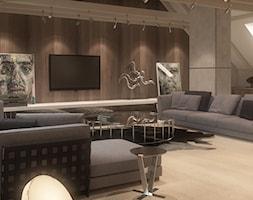 NA PODKARPACIU - Średni szary brązowy salon, styl nowoczesny - zdjęcie od FAMM DESIGN