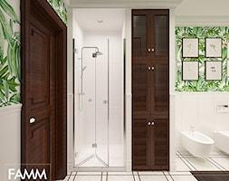 SASKA KĘPA - Średnia biała łazienka w bloku w domu jednorodzinnym bez okna, styl kolonialny - zdjęcie od FAMM DESIGN