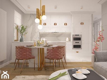 Aranżacje wnętrz - Kuchnia: Salon z aneksem kuchennym i jadalnią - FAMM DESIGN. Przeglądaj, dodawaj i zapisuj najlepsze zdjęcia, pomysły i inspiracje designerskie. W bazie mamy już prawie milion fotografii!