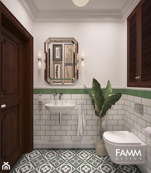 SASKA KĘPA - Średnia biała łazienka, styl kolonialny - zdjęcie od FAMM DESIGN