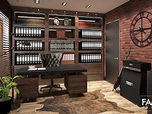 INSPIRACJE KOLONIALNE - Średnie brązowe czerwone biuro domowe kącik do pracy w pokoju, styl kolonialny - zdjęcie od FAMM DESIGN