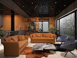 ELEGANCKI TORUŃ - Duży pomarańczowy salon z jadalnią, styl nowoczesny - zdjęcie od FAMM DESIGN