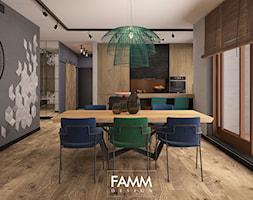LOFT LOVE - Średnia otwarta szara jadalnia w kuchni, styl industrialny - zdjęcie od FAMM DESIGN