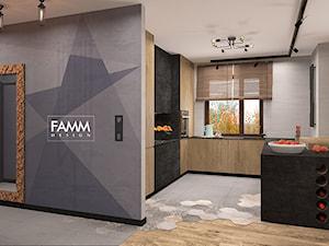 LOFT LOVE - Średnia otwarta biała kuchnia w kształcie litery l z wyspą, styl industrialny - zdjęcie od FAMM DESIGN