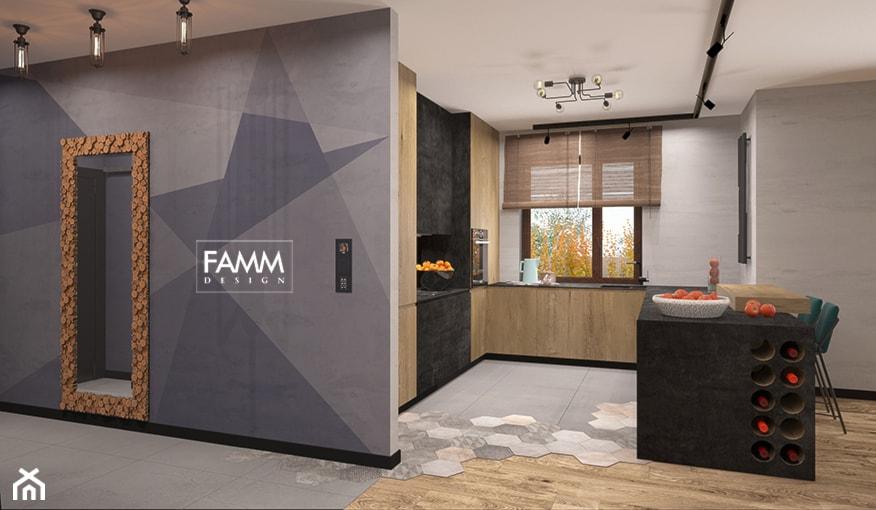 LOFT LOVE - Średnia otwarta biała kuchnia w kształcie litery l z wyspą, styl industrialny - zdjęcie od FAMM DESIGN - Homebook