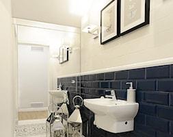 SESJA ZDJĘCIOWA - ŁAZIENKA W STYLU MANHATTAN - Mała biała czarna łazienka w bloku w domu jednorodzinnym bez okna, styl klasyczny - zdjęcie od FAMM DESIGN