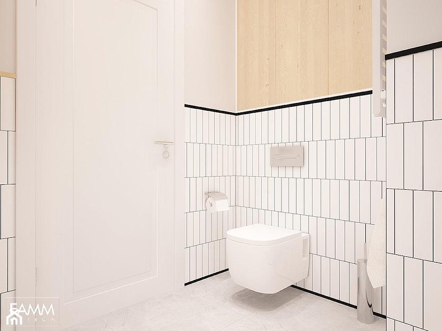 POD WYNAJEM - Mała biała łazienka w bloku w domu jednorodzinnym bez okna, styl minimalistyczny - zdjęcie od FAMM DESIGN