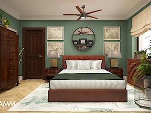 SASKA KĘPA - Średnia zielona sypialnia małżeńska, styl kolonialny - zdjęcie od FAMM DESIGN