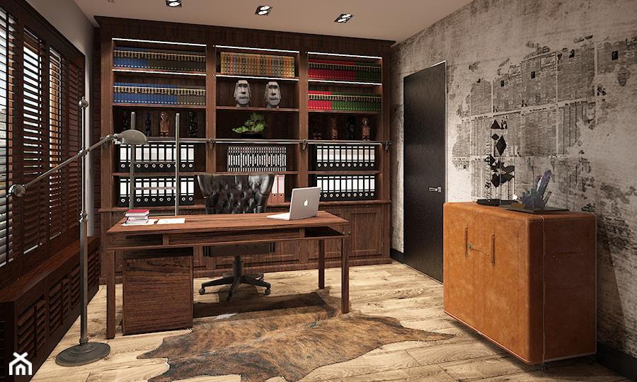 Aranżacje wnętrz - Biuro: INSPIRACJE KOLONIALNE - Średnie szare biuro domowe w pokoju, styl kolonialny - FAMM DESIGN. Przeglądaj, dodawaj i zapisuj najlepsze zdjęcia, pomysły i inspiracje designerskie. W bazie mamy już prawie milion fotografii!