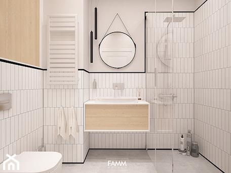 Aranżacje wnętrz - Łazienka: POD WYNAJEM - Średnia biała beżowa łazienka bez okna, styl nowoczesny - FAMM DESIGN. Przeglądaj, dodawaj i zapisuj najlepsze zdjęcia, pomysły i inspiracje designerskie. W bazie mamy już prawie milion fotografii!