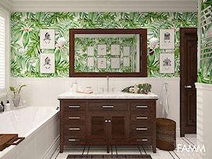 SASKA KĘPA - Średnia biała kolorowa łazienka z oknem, styl kolonialny - zdjęcie od FAMM DESIGN