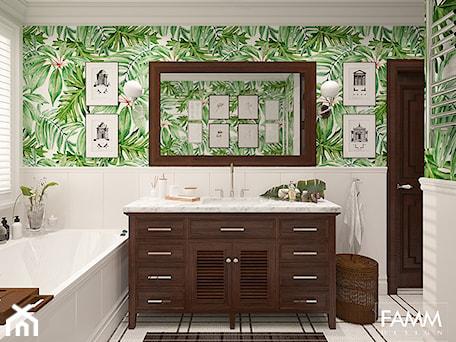 Aranżacje wnętrz - Łazienka: SASKA KĘPA - Średnia biała kolorowa łazienka z oknem, styl kolonialny - FAMM DESIGN. Przeglądaj, dodawaj i zapisuj najlepsze zdjęcia, pomysły i inspiracje designerskie. W bazie mamy już prawie milion fotografii!