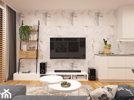 Aranżacje wnętrz - Salon: POD WYNAJEM - Średni biały salon z kuchnią z jadalnią, styl eklektyczny - FAMM DESIGN. Przeglądaj, dodawaj i zapisuj najlepsze zdjęcia, pomysły i inspiracje designerskie. W bazie mamy już prawie milion fotografii!