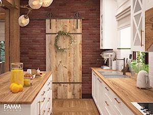 WIEJSKA REZEDENCJA - Średnia otwarta biała kuchnia jednorzędowa z wyspą z oknem, styl rustykalny - zdjęcie od FAMM DESIGN