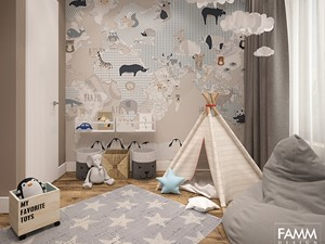POWRÓT DO DZIECIŃSTWA - Mały szary pokój dziecka dla chłopca dla dziewczynki dla malucha, styl nowoczesny - zdjęcie od FAMM DESIGN