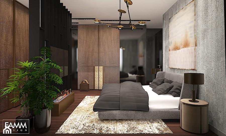 ELEGANCKI TORUŃ - Średnia kolorowa sypialnia małżeńska, styl nowojorski - zdjęcie od FAMM DESIGN