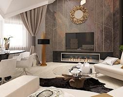 POD TATRAMI - Średni szary salon z jadalnią, styl eklektyczny - zdjęcie od FAMM DESIGN - Homebook